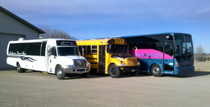 Party bus, charter bus, and school bus